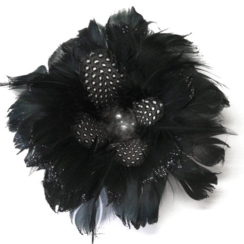 Luxe Feather Rosette-Black-1 piece  (RRP $6.32)