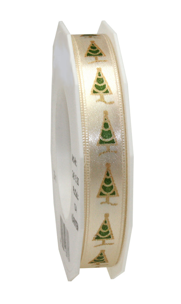 Pine Tree Printed Satin-15MM-Cream