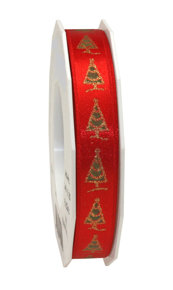 Pine Tree Printed Satin-15MM-Red