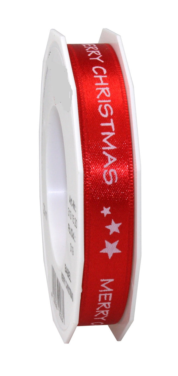 BABEL Red Satin with White Merry Christmas Print-15MM