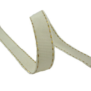 Topstitch Grosgrain 15M-15MM -Cream/Gold