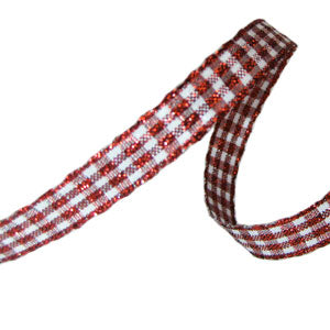 Sparkle Gingham Ribbon-Red