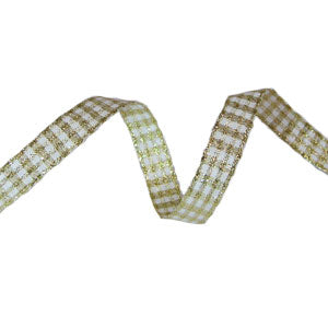 Sparkle Gingham Ribbon-Gold