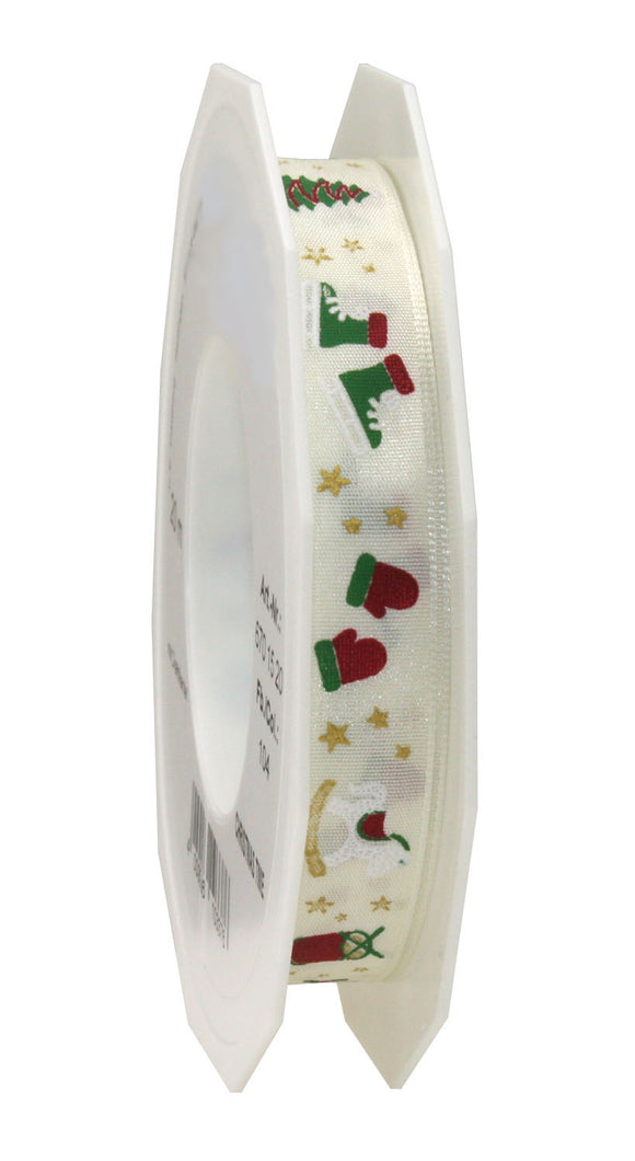 Christmas Time Printed Satin-Cream