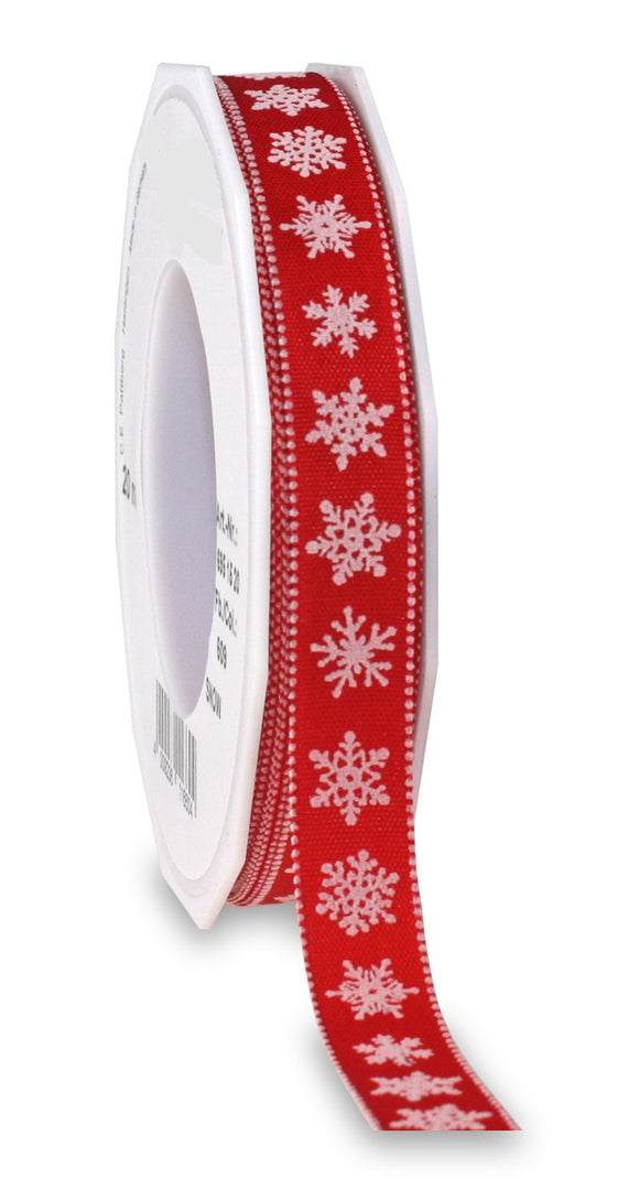 SNOW Christmas Ribbon 15MM Red