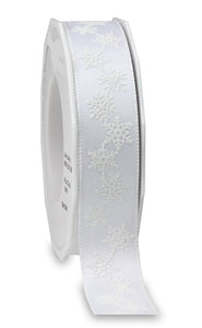 SNOW Christmas Ribbon 25MM White