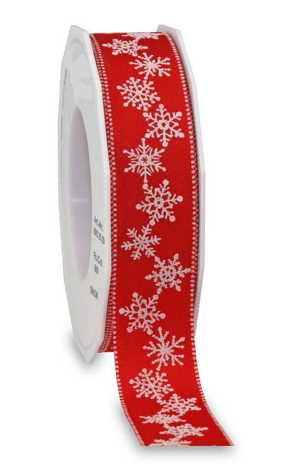 SNOW Christmas Ribbon 25MM Red