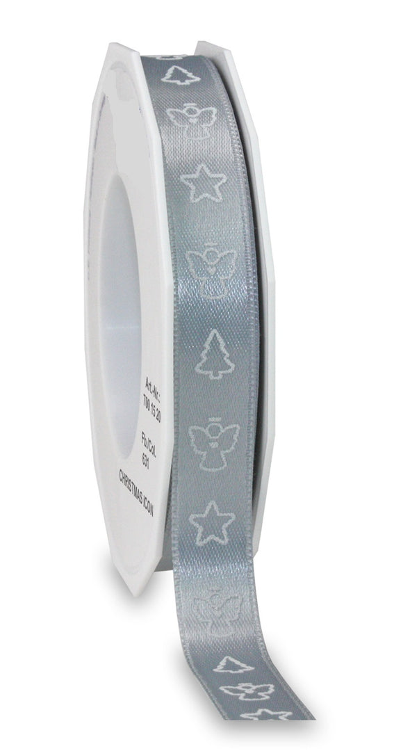 Christmas Icon Ribbon 15MM Silver