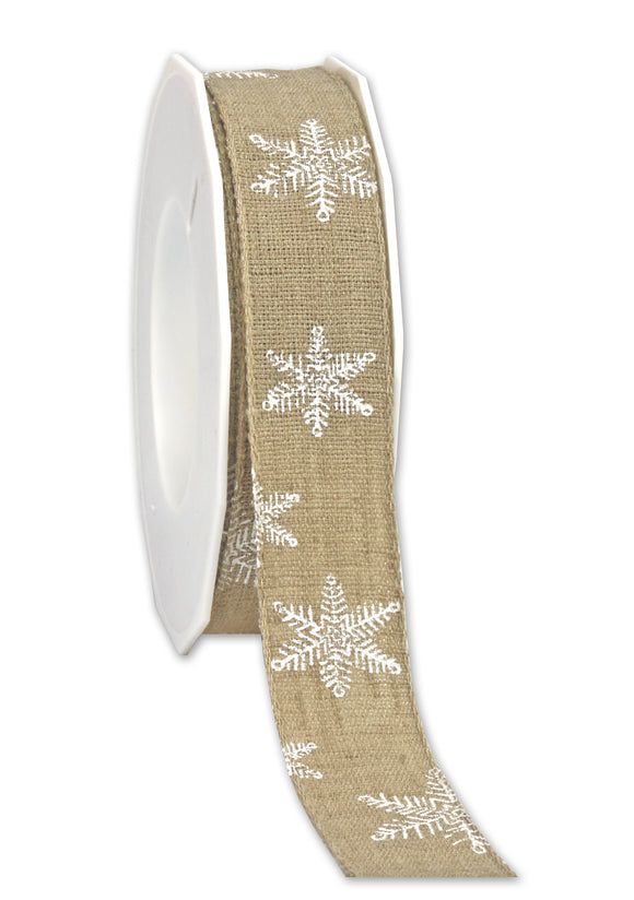 Helsinki White Snow Christmas Ribbon Natural