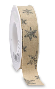 Helsinki Dark Grey Snow Christmas Ribbon Natural