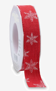 Helsinki White Snow Christmas Ribbon Red