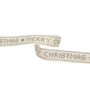 Printed Grosgrain Merry Christmas Ribbon-Grey