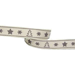 Printed Grosgrain Tree/Star Ribbon-Grey