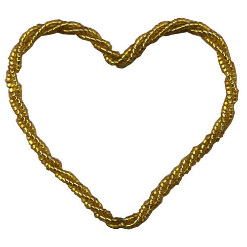 5 Gifttag Beaded Heart - Gold ($1.82/pc) (RRP $9.10)