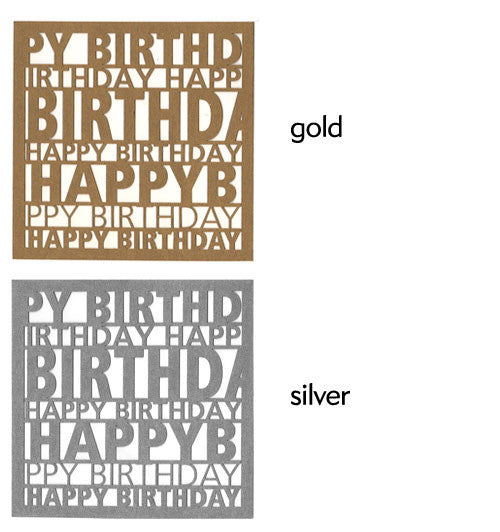 Happy Birthday Square Swing Tags -Gold