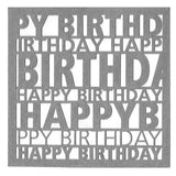 Happy Birthday Square Swing Tags -Silver