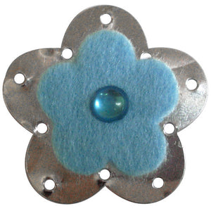 Metallic Felt Flower C-5187-24pcs Light Blue (RRP $4.5)