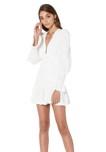 ANNA V TULIP SLEEVE DRESS -WHITE