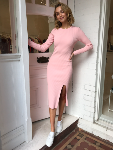 DOUBLE RIBBED MIDI DRESS IN PALE PINK