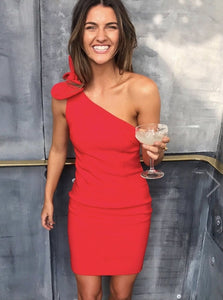 CHILI RED TIE ONE SHOULDER MINI DRESS