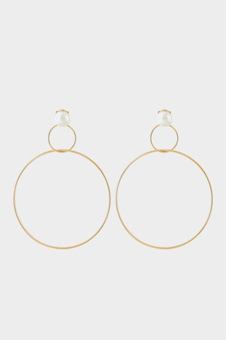 DOUBLE DROP HOOP EARRINGS WITH PEARLS