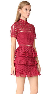 RED HIGH NECK STAR LACE PANELLED DRESS (FOR SALE)