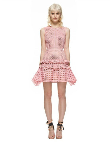 CROSSHATCH FRILL MINI DRESS (FOR SALE)