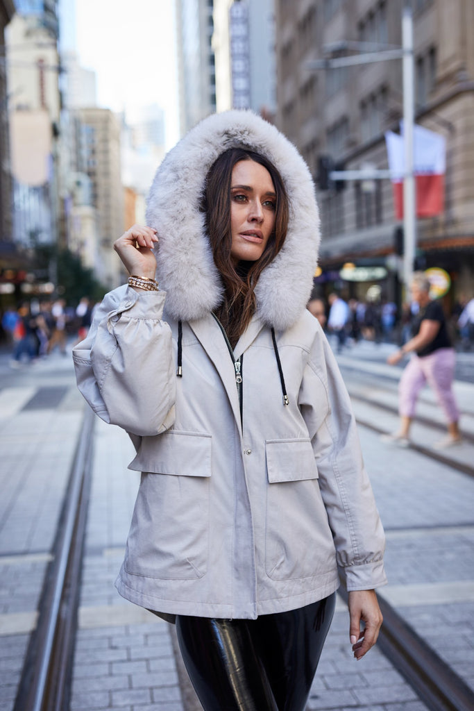 Lexi Short Parka in Stone - Mode & Affaire