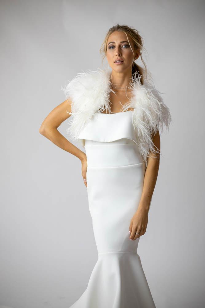 Ostrich Bridal Feather Bolero in Snow - Mode & Affaire