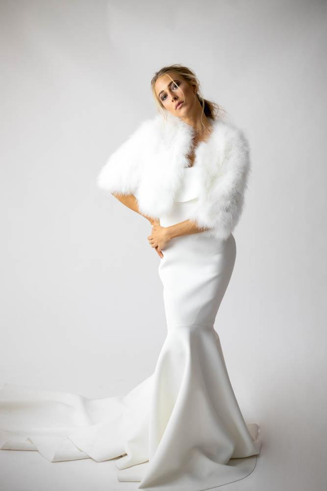 Plume Winter Wedding Jacket in Snow - Mode & Affaire