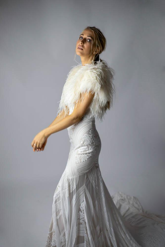 Delphine Ostrich Feather Capelet in Champagne - Mode & Affaire