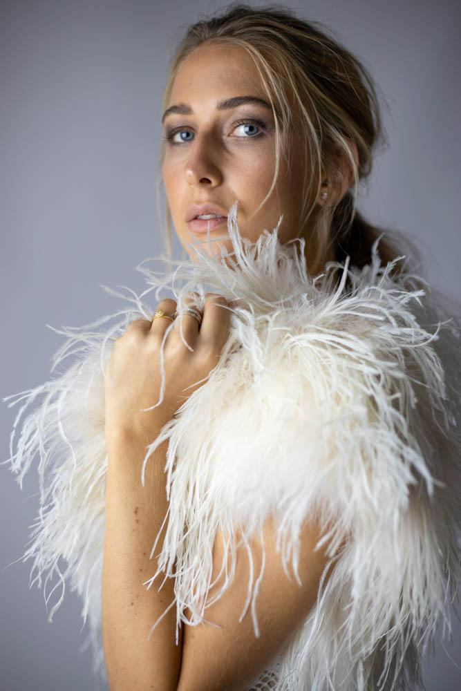 Ostrich Feather Bolero in Champagne - Mode & Affaire