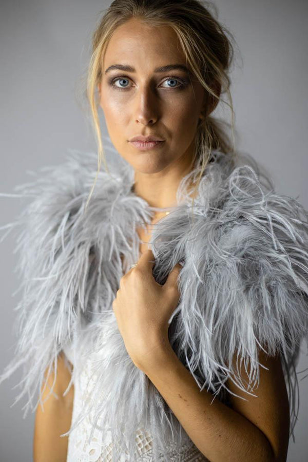 Ostrich Feather Shawl in Silver - Mode & Affaire