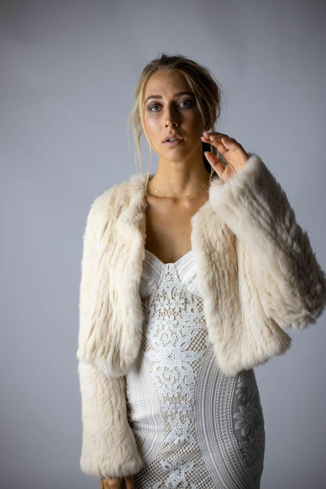 Laci Long Sleeve Fur Jacket in Shell - Mode & Affaire