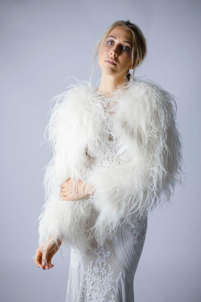 Delphine Ostrich Feather Bolero Jacket in Snow - Mode & Affaire