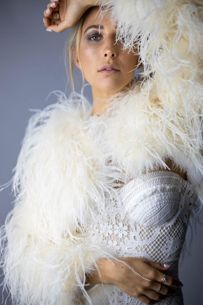 Delphine Ostrich Feather Bolero Jacket in Champagne - Mode & Affaire