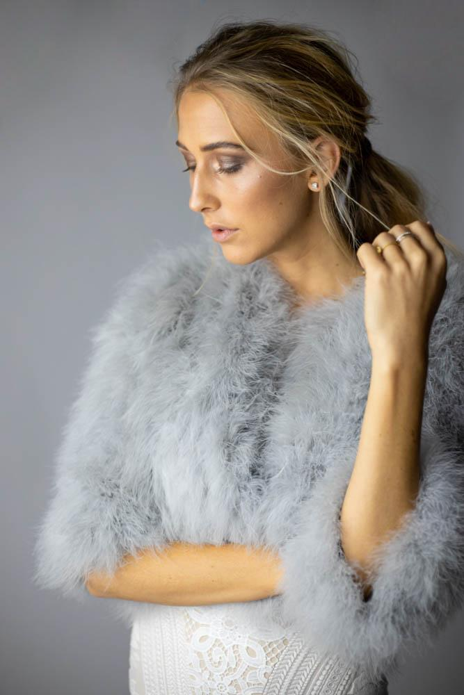Plume Feather Jacket in Silver - Mode & Affaire