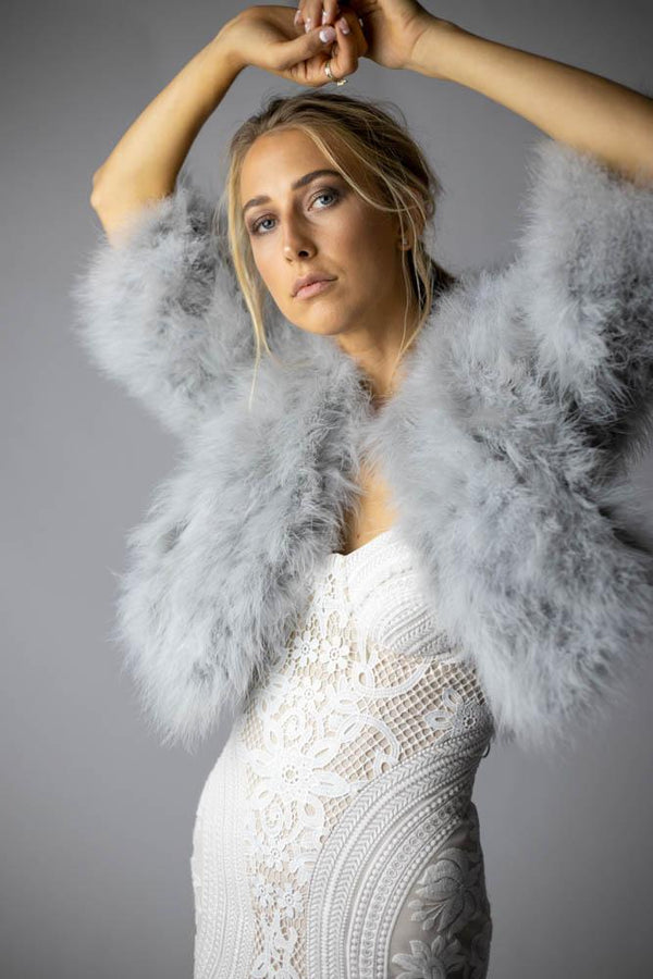 Plume Feather Jacket in Silver