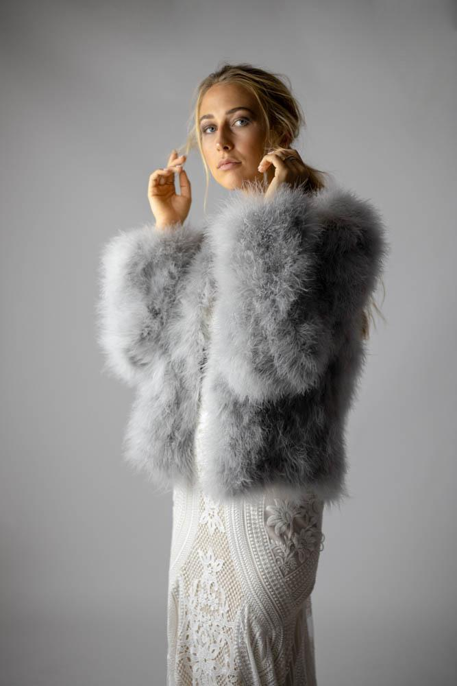 Saville Grey Feather Jacket - Mode & Affaire
