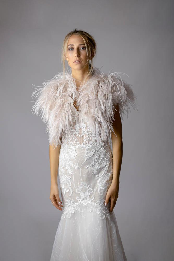 Ostrich Feather Bolero in Blush - Mode & Affaire
