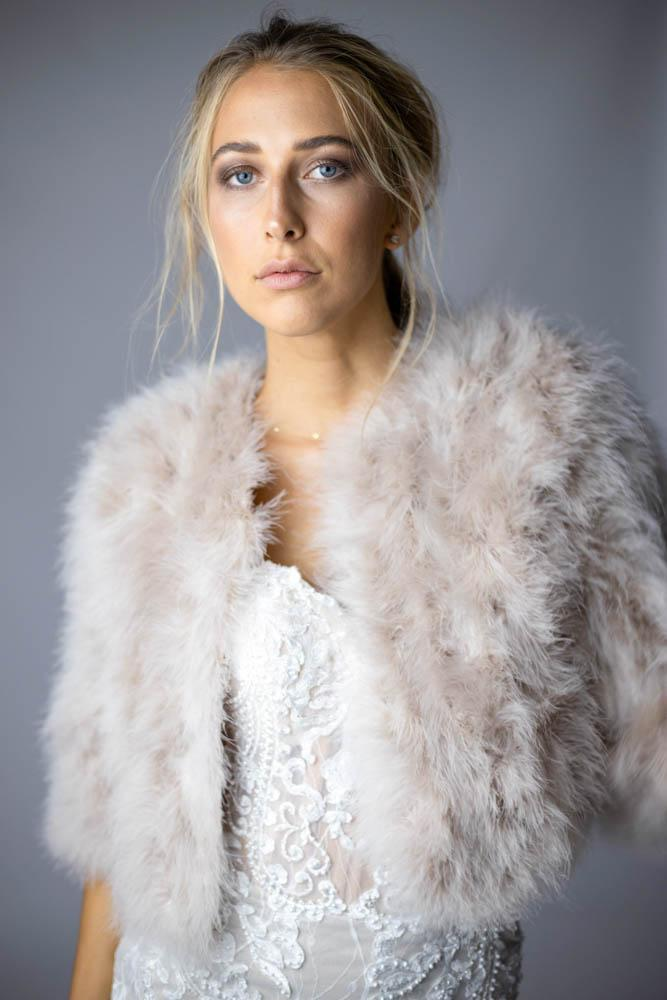 Plume Real Feather Jacket in Blush - Mode & Affaire