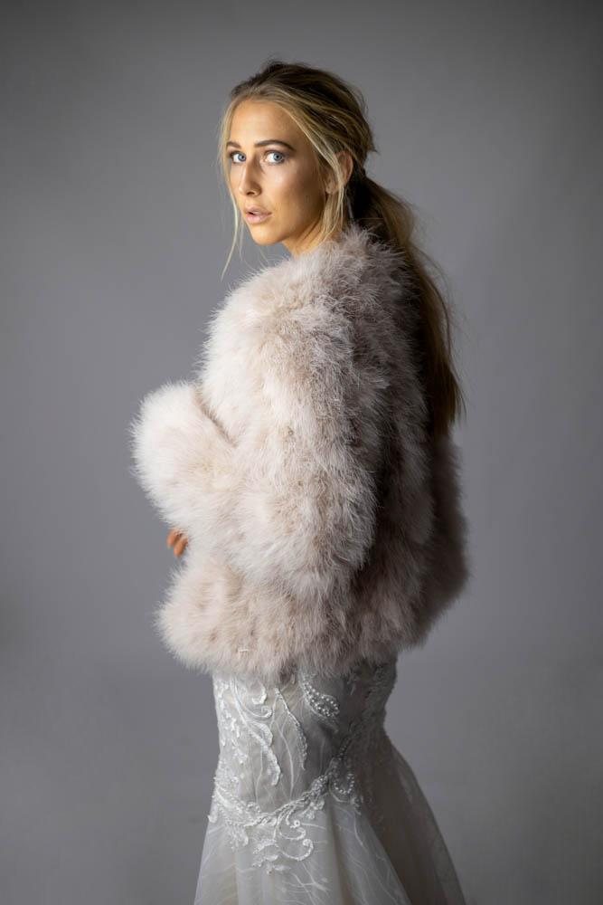 Saville Marabou Jacket in Blush - Mode & Affaire