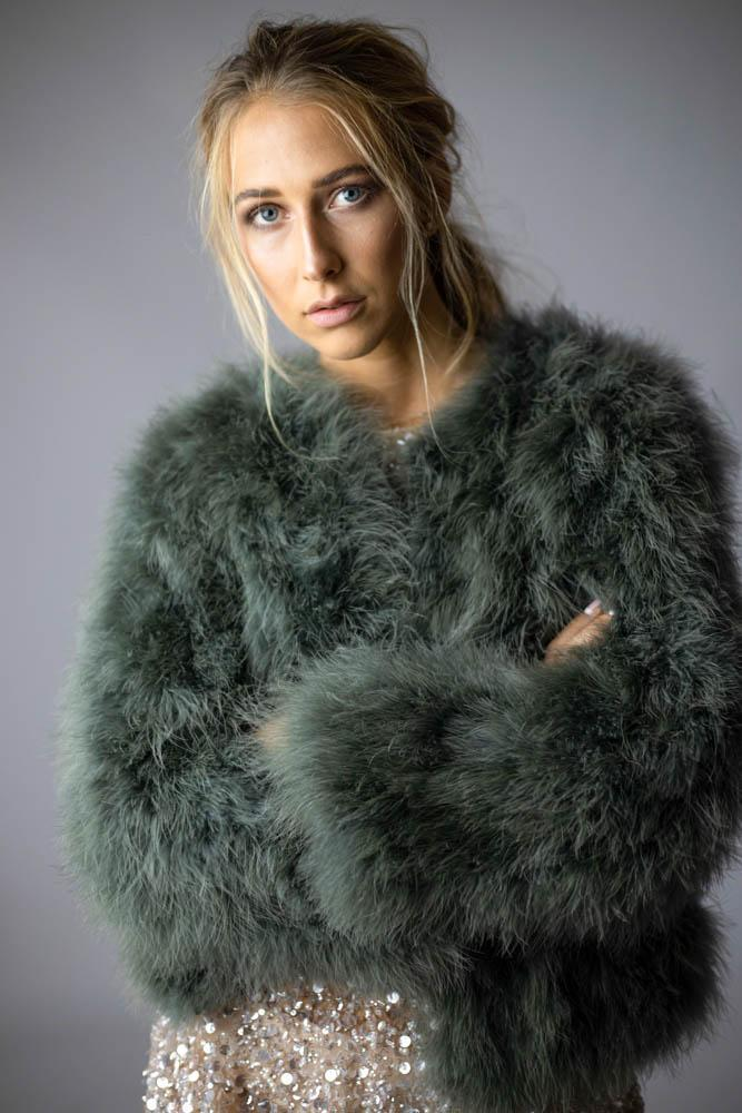 Saville Feather Bomber in Moss - Mode & Affaire