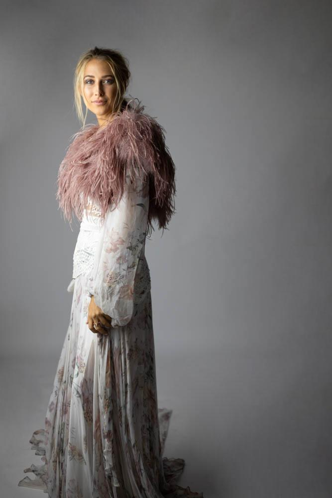 Ostrich Feather Bolero in French Rose - Mode & Affaire
