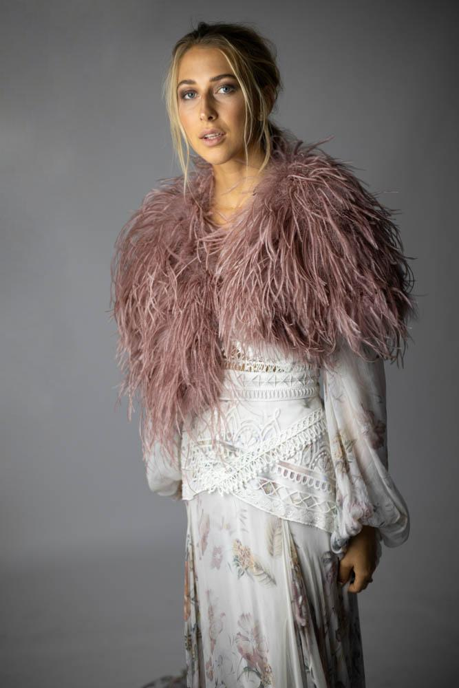 Delphine Ostrich Feather Capelet in French Rose - Mode & Affaire