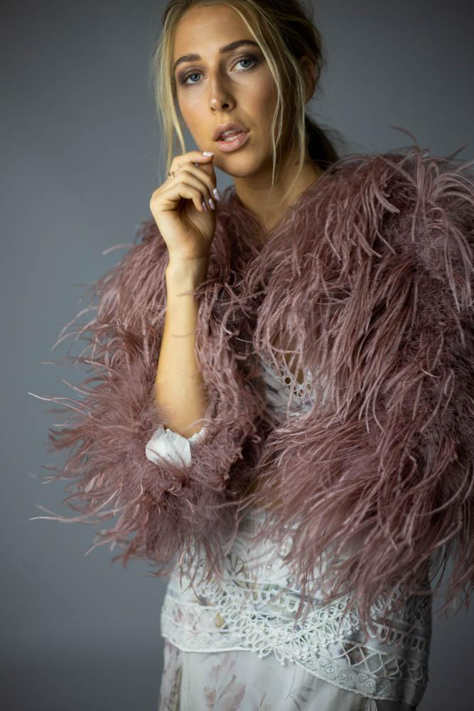 Delphine Ostrich Feather Bolero Jacket in French Rose - Mode & Affaire