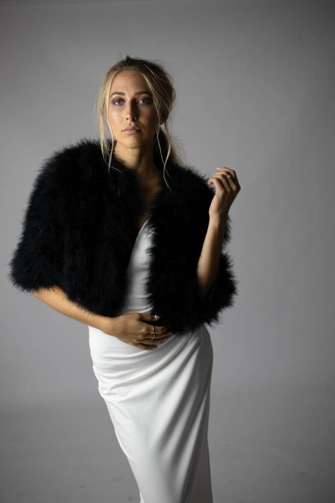 Plume Feather Jacket in Onyx - Mode & Affaire