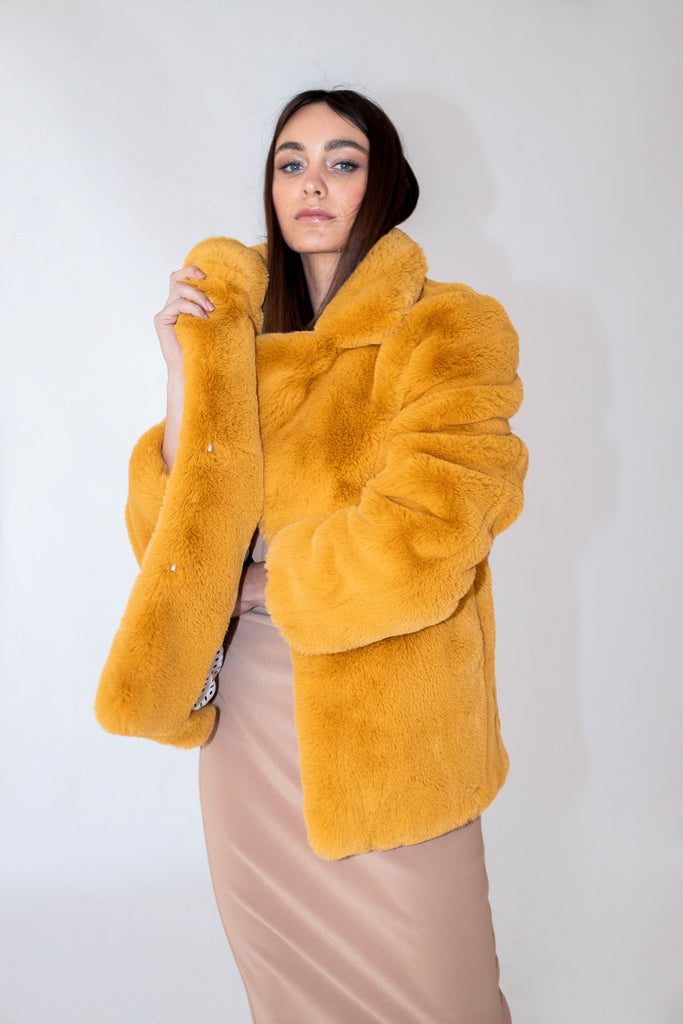 Astrid Faux Jacket in Chartreuse - Mode & Affaire