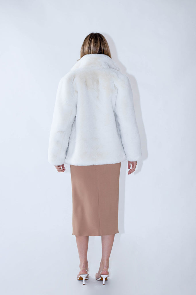 Astrid Faux Jacket in Snow - Mode & Affaire