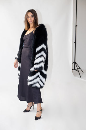 Beatrix Long Fox Coat in Monochrome - Mode & Affaire